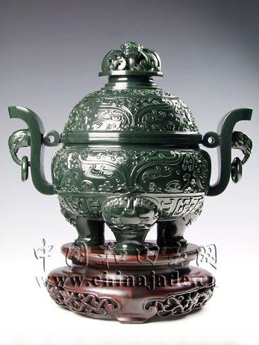 青玉-饕餮纹饰天官炉