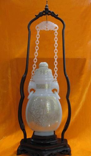 玉沅珠宝 器具玉器 链瓶 和田白玉错金链子瓶