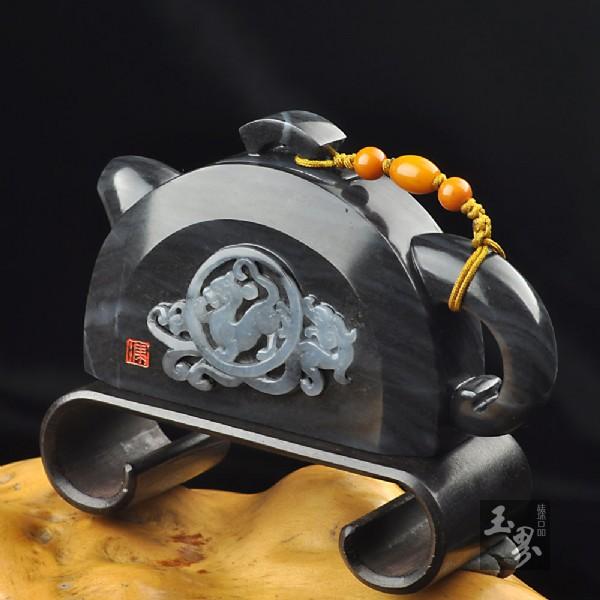 墨玉子料-瓦当壶(把玩壶)