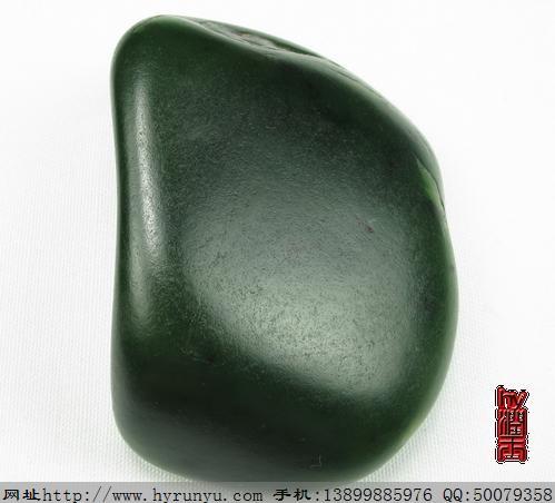 和田玉料 和田玉收藏菠菜绿碧玉籽料原石 89.5克图片