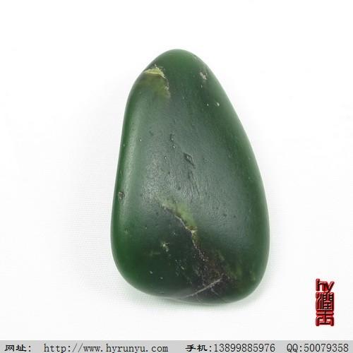 和田玉菠菜绿碧玉籽料原石把件50.8克图片