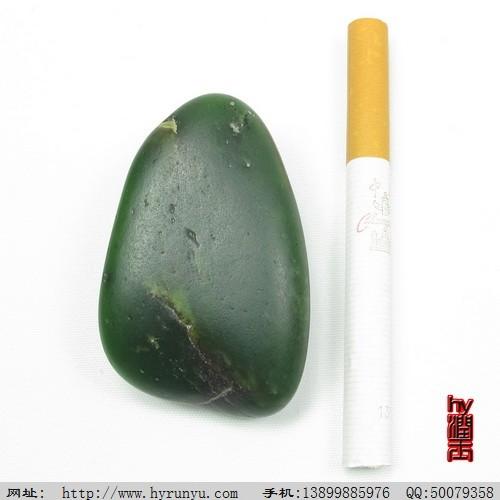 和田玉料 和田玉菠菜绿碧玉籽料原石把件50.8克图片