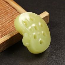 黄玉挂件-蛙趣藕片
