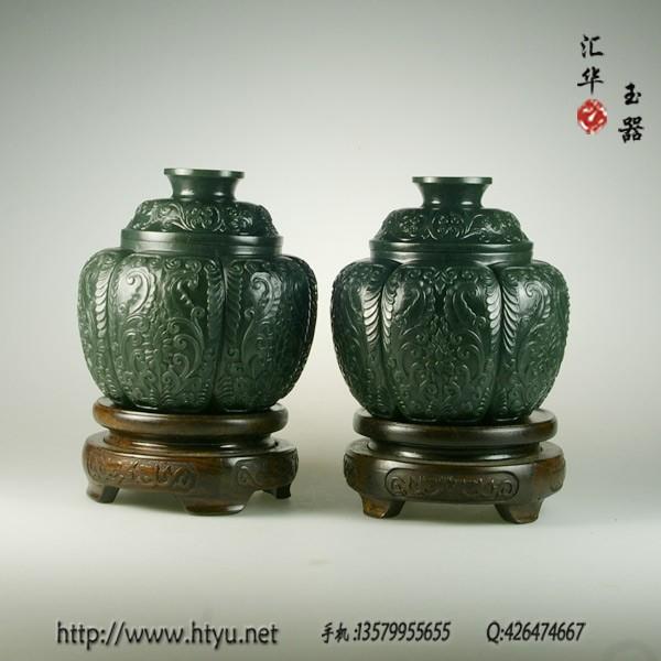 和田玉青玉薄胎罐