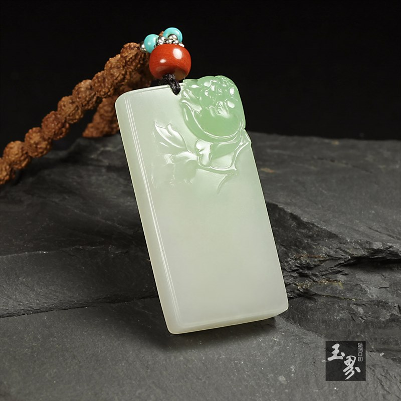 (翠青)白玉牌-花开富贵