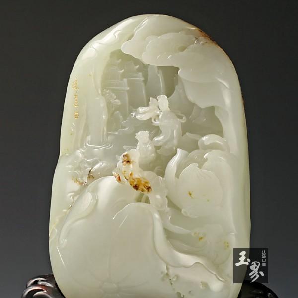 白玉籽料山子雕-采莲曲